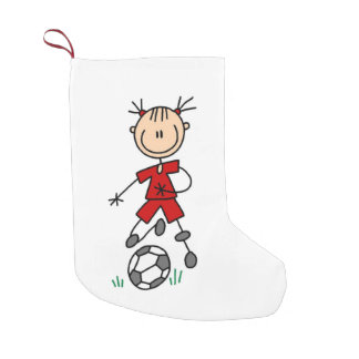 Girl Stick Figure Soccer Red Uniform Stocking