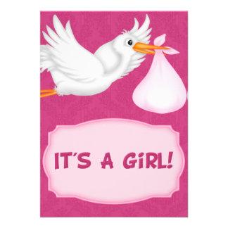 Girl Stork  Baby Shower  Invitation