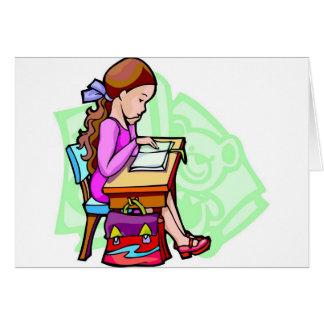 Girl Studies At Desk Card