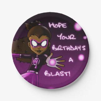 Girl Super Hero Birthday Paper Plate 7 Inch Paper Plate