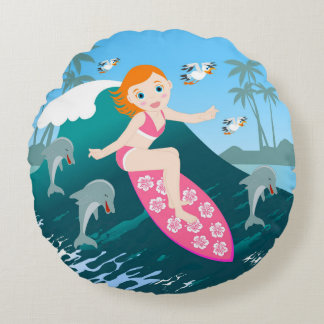 Girl surfing a big wave with dolphins round cushion