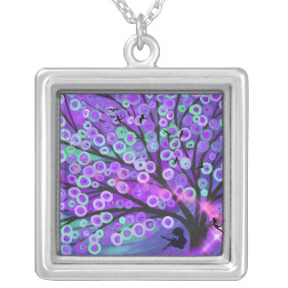 girl swing tree silhouette with fairy necklace
