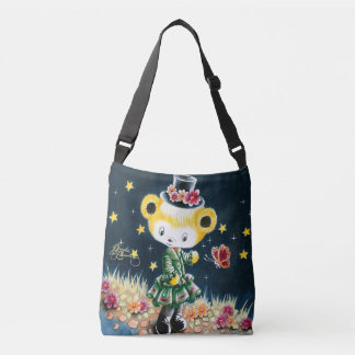 Girl Teddy Bear In A Top Hat Crossbody Bag