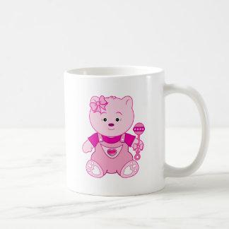 Girl Teddy Bear in Pink Mugs