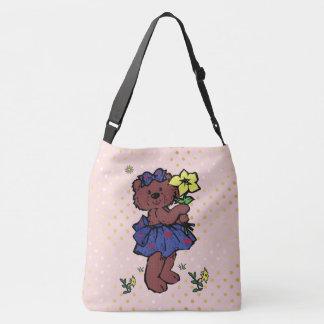 Girl Teddy Bear With Hearts Holding Flower Crossbody Bag