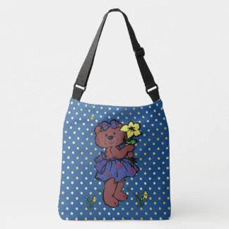 Girl Teddy Bear With Hearts Holding Flower Tote Bag