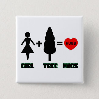Girl+Tree=Hugs 15 Cm Square Badge