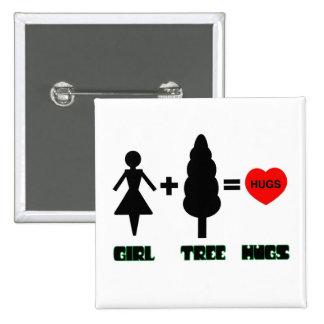 Girl+Tree=Hugs 15 Cm Square Badge