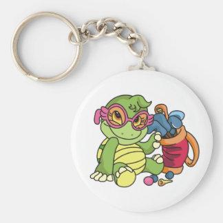Girl Turtle Golfer Basic Round Button Key Ring