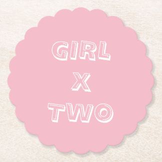 Girl Twins Baby Shower Pink Paper Coaster