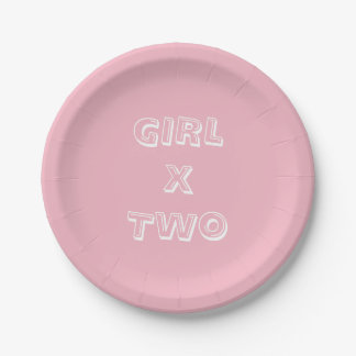 Girl Twins Baby Shower Pink Paper Plate