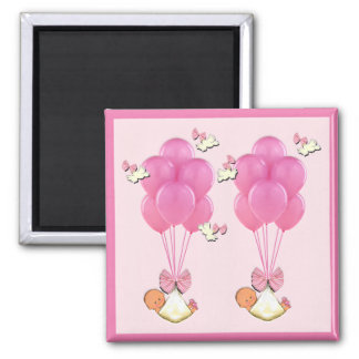 Girl Twins Baby Shower Square Magnet