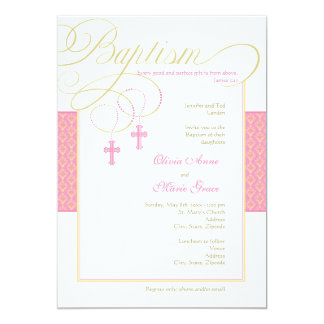 Girl Twins Damask Baptism Invitation