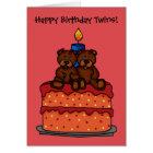 girl twins on a birthday cake card