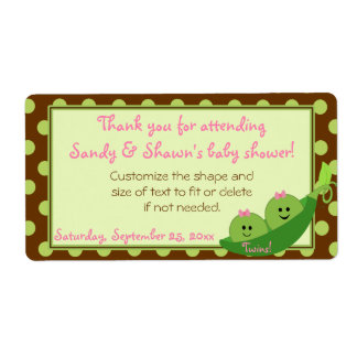 Girl Twins Peas in a Pod Baby Shower Favor Label