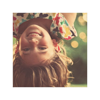 Girl Upside Down Smiling Child Kids Play Canvas Print