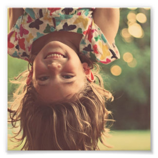 Girl Upside Down Smiling Child Kids Play Photographic Print