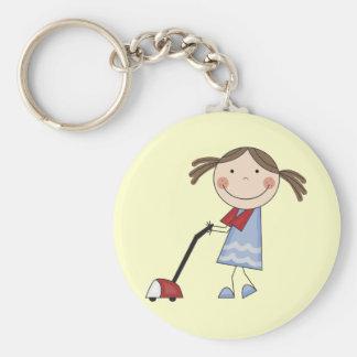 Girl Vacuuming Tshirts and Gifts Key Ring