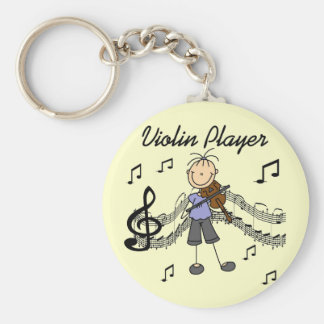 Girl Violin Player Tshirts and Gifts Basic Round Button Key Ring