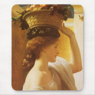 Girl w Basket of Fruit, Leighton Vintage Victorian Mouse Pads
