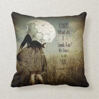 Girl w/Lacy Umbrella Christian Verse Throw Pillow