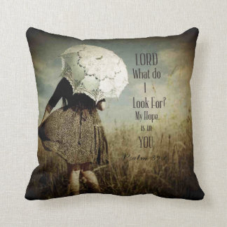 Girl w/Lacy Umbrella Christian Verse Throw Pillow