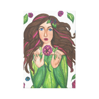 Girl w Magical Flowers Wrap Canvas 11 x 16 5 Canvas Prints