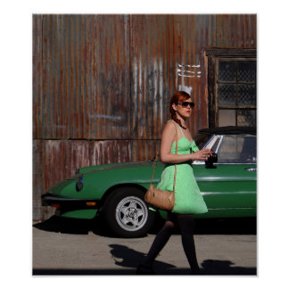 Girl Walking By Old Car & Rustic Building Poster