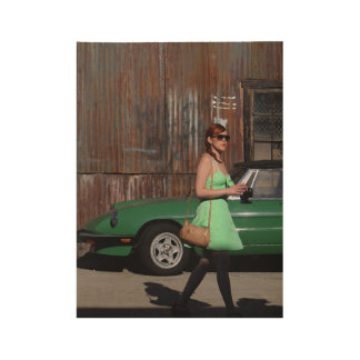 Girl Walking By Old Car Wood Poster