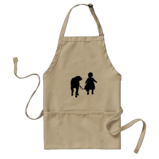 Girl Walking Dog Adult Apron