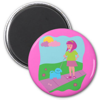 Girl Walking Dog Magnet