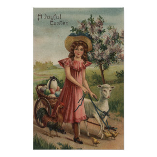 Girl Walking Lamb, Chick, and Rooster Poster