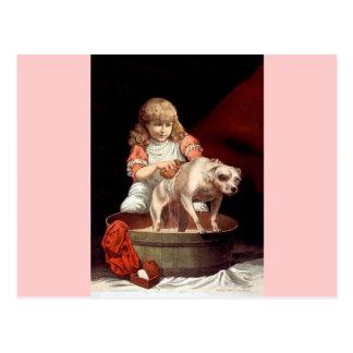 Girl Washing her Pet Dog Post Card