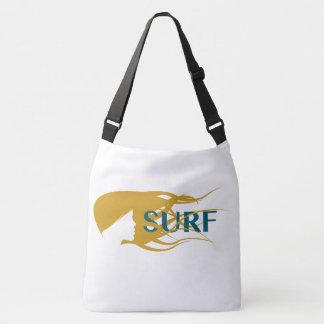 Girl Watching Waves Artwork Crossover Body Bag. Crossbody Bag