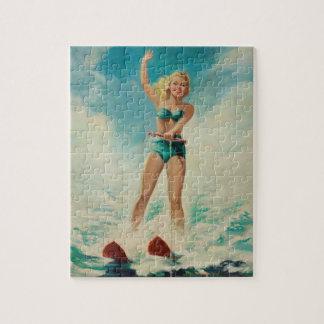 Girl Water Skiing Pin Up Art Jigsaw Puzzle