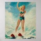 Girl Water Skiing Pin Up Art Poster
