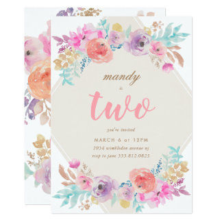 Girl Watercolor Flowers Second Birthday Invitation
