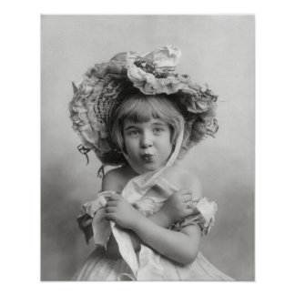 Girl Wearing Bonnet, 1902. Vintage Photo Poster