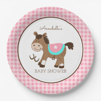 Girl Western Horse Cowgirl Theme Paper Plate
