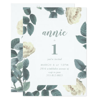 Girl White and Green First Birthday Invitation