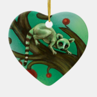 Girl Who Loves Lemurs Ceramic Ornament