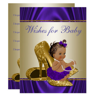 Girl Wishes for Baby Girls Purple Baby Shower Game 11 Cm X 14 Cm Invitation Card