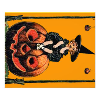 Girl Witch Smiling Jack O' Lantern Black Cat Photographic Print