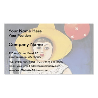 Girl with a Baloon by Niko Pirosmani Business Card Templates