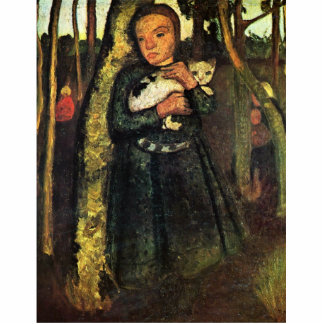 Girl With A Cat In The Birch Forest By Modersohn- Photo Sculptures