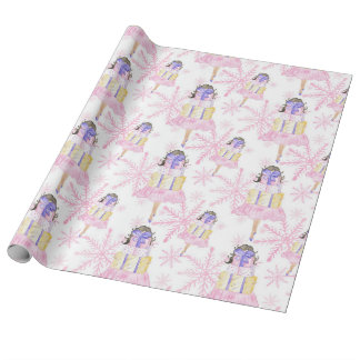Girl With a Christmas Gift Wrapping Paper