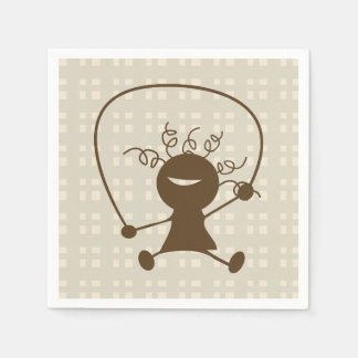 Girl With A Jump Rope Paper Napkins