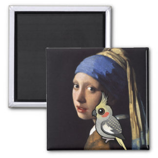 Girl with a Pearl Cockatiel Magnet
