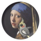 Girl with a Pearl Cockatiel Plate