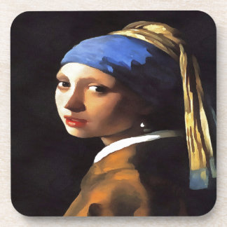 Girl with a Pearl Earring After Johannes Vermeer Coasters